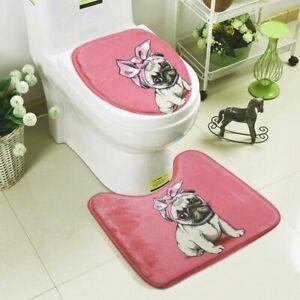 2 Pcs Bath Mats Set Toilet Carpets Simple Cute Dog Pug Pattern Suit WC Non-Slip