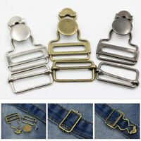 2Set Clothes Suspender Strap Buckle Button Clip Metal Word Hook Overalls Jeans