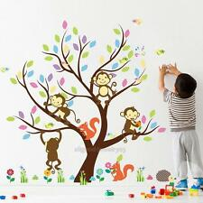 Jungle Animal Fox Monkey Tree Wall Stickers Nursery Decor for Kids Baby Room NEW
