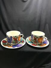 Villeroy and Boch ACAPULCO 2 Teacups Saucers Birds Brown And Blue Stamp C4