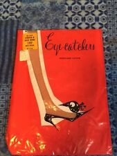 One pair vintage Eye Catchers garter stockings 9-10 1/2 rose beige flat knit