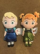 """New With Tags Disney Store Baby Toddler Elsa & Anna Frozen Plush Dolls 12"""""""