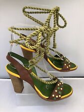 "MISS SIXTY Size 5 EU38 Green Yellow Leather Strappy Sandals Open Toe 4"" Heel"