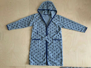 PETIT BATEAU   Kuscheliger Bademantel   Fleece   grau+blaue Sterne   10 ans/138