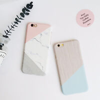 Granite Marble Contrast Color PC Hard Phone Cover Case for iPhone 6 6S 7 Plus