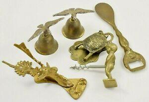 Vintage Collectors lot of Brass items - Stag Door Knocker, Bells & More   #W46-7