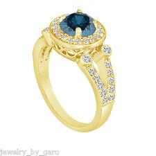 18K YELLOW GOLD ENHANCED BLUE DIAMOND ENGAGEMENT RING HANDMADE HALO PAVE 1.54 CT