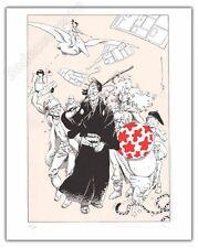 Serigraphie MICHETZ Peyo Loisel Moebius Herge 200ex-s 40x50 cm