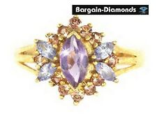 ring 2.59 carat fashion right hand amethyst tanzanite andalusite 10k solid gold
