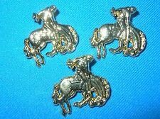 HORSE-BRONKING HORSE W/RIDER-10 PIECES-GOLD COLOR FINISH-BUCKLE EMBELLISHMENTS