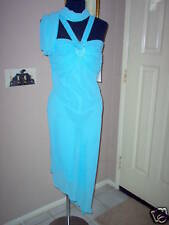 Blue Halter Gown w/gathered top bust & clear studs scarf. Size Medium.