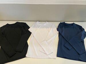3 Boys Long Sleeve Compression Shirts In Black White Navy Size Youth Medium YM