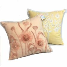 "Pier 1 Square Embroidered Bohemian Floral Cotton Pillows 18"" Pastel Peach Yellow"