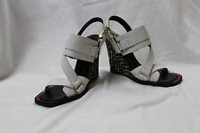 NWOB Derek Lam 'Gillie' white open-toe zebra wedges shoes 7 -Italy