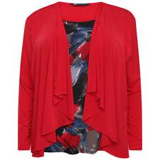 Print & Plain Plus Size Ladies 2 in 1 Long Sleeve Top
