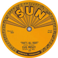 Elvis Presley. That's All Right. Vinyl record label sticker. Sun Records Memphis