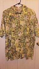 Hilo Hattie Mens Hawaiian Shirt Size 2XL Green Yellow Floral 100% Cotton Button