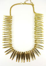 Gold Tribal Leaves Statement Fashion Jewellery Necklace