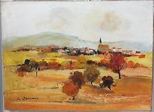 huile sur toile peinture Michel Jouenne certificat paysage Beaujolais 100x73cm