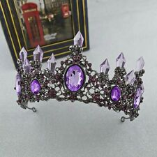 Vintage Black Bridal Crown Headdress Purple Rhinestone Wedding Tiara Accessories