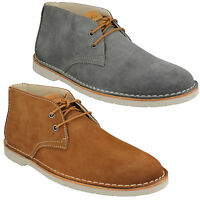 MENS CLARKS LACE UP SUEDE LEATHER BROWN BLUE ANKLE DESERT BOOTS HINTON RISE