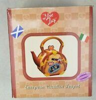 I Love Lucy European Vacation Teapot New In Box Italy Paris Swiss Alps Scotland