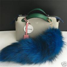 "Sea Blue/Black 16"" Large Genuine Real Fox Tail car Key chain Bag Charm Tassle"