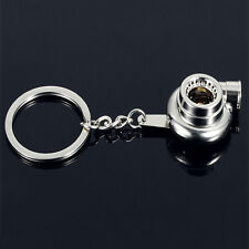 New Auto Parts Models Spinning Turbo Turbocharger Silver Keyring Key Chain Ring