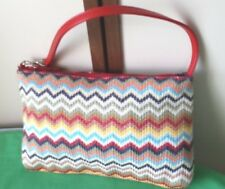 Ladies Woven Summer Bag Multi Colour Zig Zag Deisgn with Red Strap NEW