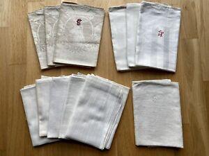Konvolut verschiedener gewebter Bauernleinen Handtücher 12 St., ca. 1900 - 1920