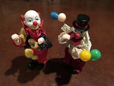 RARE VINTAGE Wind up Animated Musical Clowns - 1 Has Balloons & 1 Has Cymbals