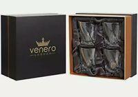 Venero Crystal Whiskey Glasses Set of 4 Tumblers Drinking Scotch Bourbon Lowball