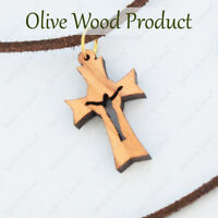 Christmas Gift Olive Wood Crucifix Cross Israel Jewelry Wooden Pendant Necklace