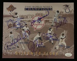 1996 New York Yankees World Champions SIGNED 8x10 Photo 7 sigs w/ Jeter JSA