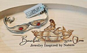 Handmade Spoon Bracelet Vintage Red Turquoise Artisan Adjustable Flatware