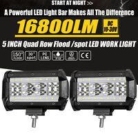 5inch LED Work Light Bar Spot Flood Combo Pods OffRoad Driving Reverse IP68 Pair