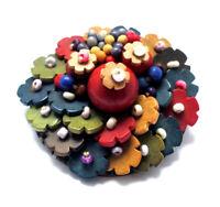 Holzperlenbrosche mit Blüten und Glasperlen · Unikat 1920er-Jahre · #874