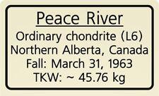 Meteorite label Peace River