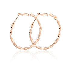 18K Gold Plated Women Crystal Drop Dangle Twist 3 mm thin Hoop Earrings Gift