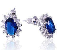 Sapphire Dark Blue Cubic Zirconia Oval Stud 18K White Gold Plated Earrings UK