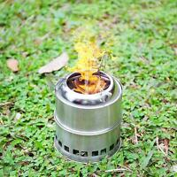 Portable Stainless Steel Outdoor Wood Stove Multi Fuel BBQ Picnic Camping Stove