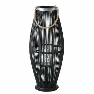 Bambus Windlicht JOSHUA, schwarz - Laterne im Boho-Stil