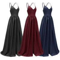 Formal Women Bridesmaid Evening Maxi Dress Backless V-Neck Prom Party Ball Gown