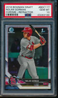 PSA 10 NOLAN GORMAN 2018 1st Bowman Draft Chrome REFRACTOR Rookie RC GEM MINT