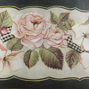 Tapetenbordüre Wandbordüre Borte Blumendruck Rosa Beige Schwarz Art.-Nr. GC3111B