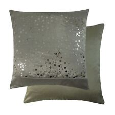 """SEQUINS BANDED STRIPE SILVER GREY FAUX SILK 17"""" - 43CM CUSHION COVER"""