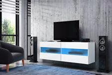 Brico - meuble TV - avec LED bleue / rouge - 100 cm - Blanc, Effet Chêne