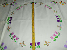 VINTAGE TULIPS IVORY LINEN  EMBROIDERY TABLECLOTH WINDMILL SMALL SQUARE