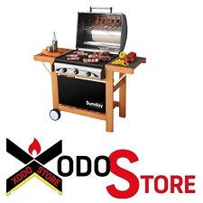 Grill barbecue a gas SUNDAY  PROFY 3 INOX - con ruote e coperchio BBQ
