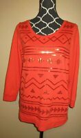 Womens Size Small Dark Orange 3/4 Sleeved Embellished Sweater Blouse Fall Wear